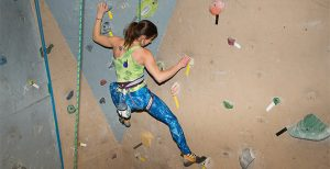 Female Rock Climber on Wall